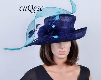 Turquoise blue navy blue New Design for 2017 Kentucky derby sinamay hat large dress church hat with feathers&sinamay loops