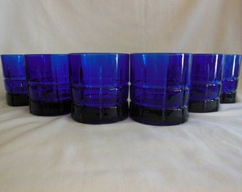 Vintage Tartan Cobalt Blue Rock Glasses Cobalt blue Old Fashion Tumblers Anchor hocking Glass Co. offers considered