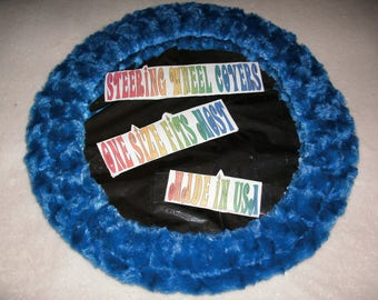Fuzzy soft royal blue rosebud swirls steering wheel cover
