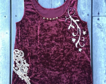 burgundy CRUSHED VELVET upcycled TANK with lace applique and hand sewn reverse applique