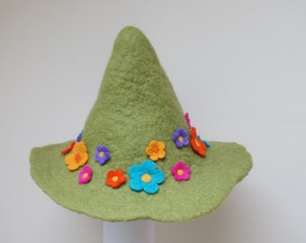 Snufkin hat green felted with felt wool flowers feather rose brooch sauna cap tribal Valentine Christmas carnival festival troll mu