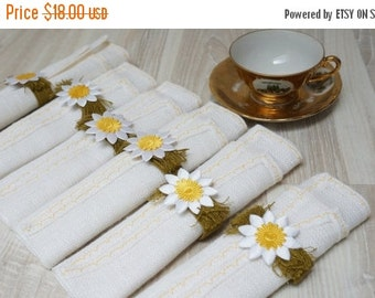 BLACK FRIDAY SALE Linen napkins with rings Doilies coaster flower set of 6 six woven flower mat square floral white table placemat flax yell