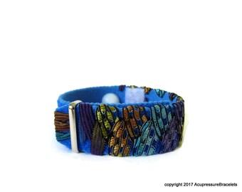 H7 Anxiety/Insomnia Acupressure Bracelet for Sleeplessness, Palpitations, Nausea (one bracelet) Peacock Blue