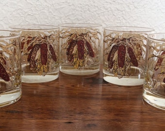 Vintage Georges Briard Indian Corn Lowball Glasses Mid Mod Barware Fall Thanksgiving
