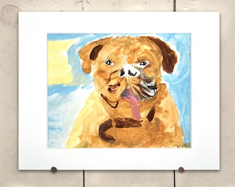 """Bulldog Original Art 14x11"""" Matted One of a Kind 100% of the profits go directly to artists with disabilities Item 72 Vin M."""