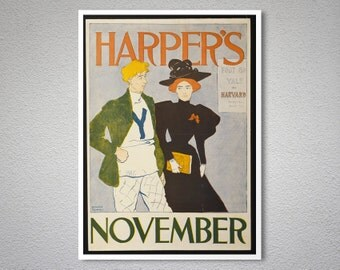 Harper's November, 1894 by Edward Penfield - Poster Paper, Sticker or Canvas Print