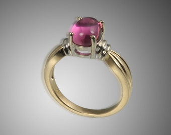 Pink Tourmaline Cabachon 14kt Gold Two Tone Ring 46-10107
