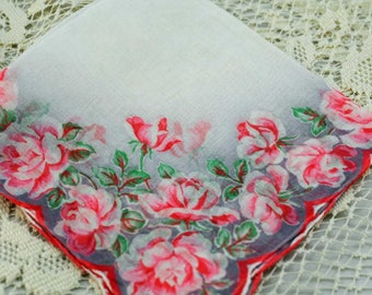 Vintage Hankie, Beautiful Pink Floral on Gray/White Background #A2