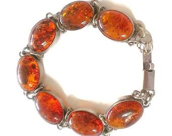 Vintage Amber Sterling Silver Bracelet Modern Link Design