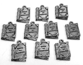 """Ten (10) Pewter """"Book of Mormon"""" Charms - Free Shipping in the US - 0079"""