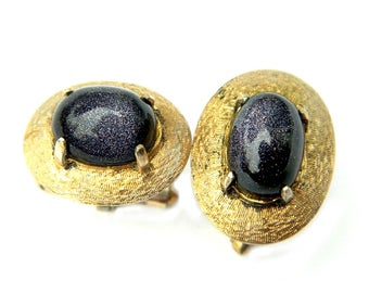 Vintage 1930s Gold Wash Over Silver Purple Goldstone Glass Cufflinks Signed S.S Mystery Mark Jewelry Accessory For Men Gift For Him