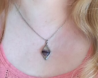 Sterling silver drop diamond or kite shape necklace, Blue John stone, has purple, white tints, minimal pendant.
