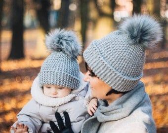 Light Grey knit hat, Set of 2 hats Mommy and Me hats fur pompom Knit beanie, winter hat