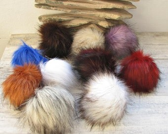 Fake fur pom pom (12 cm) choose color. Vegan Faux Fur Pom Pom. Handmade in Poland