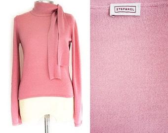 Vintage Stefanel Pink Pullover,Wool Scarf Tie Sweater ,Women's Medium Size Pullover