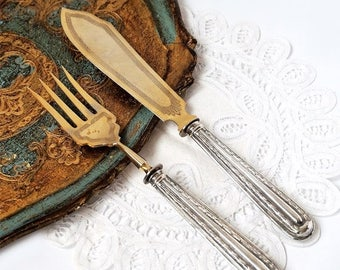 SALE Antique Silver 800 Serving Set, Fork and Knife serving Set ,French Silver 800 Art Deco Serving Utensil,Wedding Cutlery Silver Set