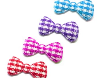 """100pcs x 7/8"""" Assorted Gingham Cotton Bow Padded/Appliques - (Red, Pink, Blue, Purple)"""