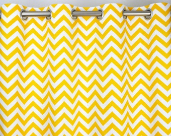 Ready To Ship - 50W x 84L Grommet Panels with Napped Sateen Lining -Yellow White Zig Zag Chevron