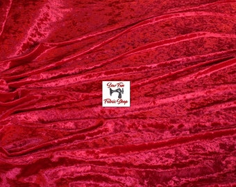 Red Crushed Panne Velvet Two-Way Stretch Fabric..great for costumes, dance, theater, formal wear, pageant.