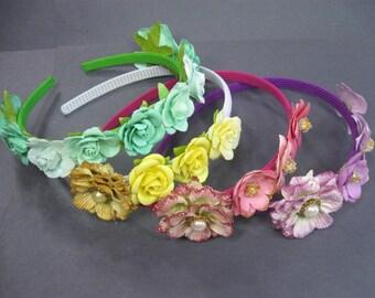 Flower girl Headband, Pink Flower Headband, Purple Flower Headband,  Flower Girl Hair Accessories, Headpiece