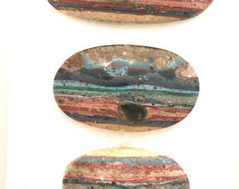 Three Rainbow Calsilica Cabochon Suite - Designers Delight - hand cut free form Mexican Calsilica cabs E01773