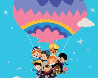 Bright Color It's A Small World Children Balloon Clouds and Stars CUSTOMIZABLE sizes and colors - Digital Instant Download for Printing