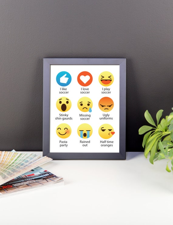 I Love Soccer Emoji, Emoticon Funny Sayings - Digital Instant Download (for wall hanging, decor, fun printable, for a frame, gift, for fun)