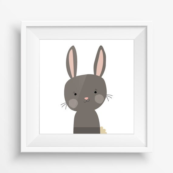 Adorable Cute Woodland Forrest Bunny Rabbit Animal Print (Dark Brown) - Digital Instant Download