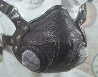 Steampunk altitude mask, aviator mask, brown leather, respirator, post apocalyptic