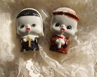 Vintage NUN & PRIEST Porcelain Figurines