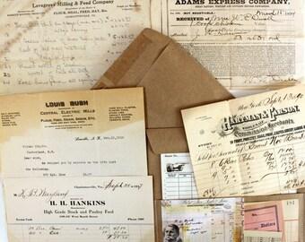 Vintage Ephemera Receipts*5 Receipts with Altered Envelope*Ephemera Bill Invoice Receipts 1800-1900's