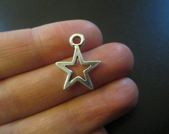 Pack of 10 Antique Silver Tone Star Charms Christmas Wish 21mm x 17mm