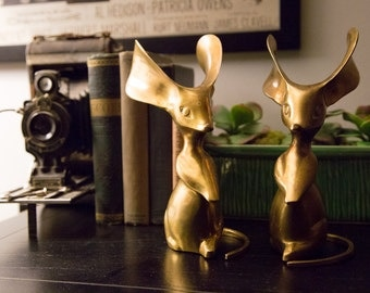 Brass Mouse Figures Mid Century Large Eared Statue Set 1960s