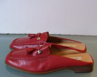 Brighton Made in Italy Red Backless Loafers Size 7.5 M