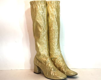 1960s gold lurex go go boots - size 6.5 - 1960s gold gogo boots - 1960s mod boots - metallic stretch lurex gold boots - 60s boots