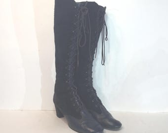 1960s Battani navy blue suede and leather lace up boots - size 7 - 1960s suede gogo boots - 1960s suede lace-up boots - 1960s gogo boots