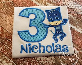 CatBoy P J Masks Inspired Birthday Custom Tee Shirt - Customizable - 60