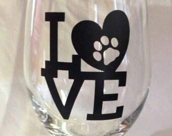 ON SALE!! Love Heart Dog Pet Paw Print Themed 20 oz Wine Glass Set of Four