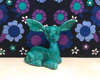 Vintage Anglian Pottery Turquoise China Deer