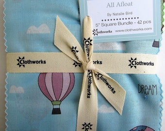 """ALL AFLOAT Square Bundle from Clothworks - (42) 5"""" factory-cut squares - SQ0127"""