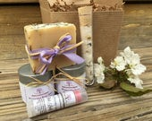 Mother's Day Spa Gift Set, Holiday Bath Set, Lavender Soap Gift Set with Soap, Lotion, Sugar Body Scrub, Bath Salts and Lip Balm