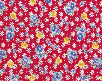 Old New 30s - Lecien Fabric - Reproduction Fabric - Red Floral Fabric