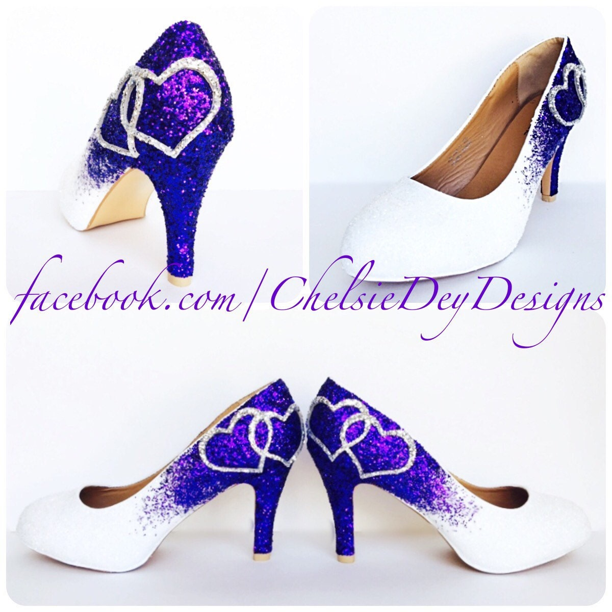 Low Purple Glitter Heels - Eggplant Royal Purple Silver Pumps ...