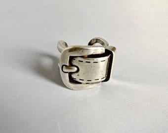 Buckle ring, belt buckle ring, ring, silver buckle ring, antique ring, antique buckle ring, buckle, jewelry, vintage buckle ring, belt ring
