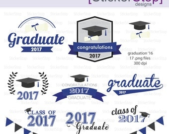 Navy and Black Graduation 2017 Party Invitations Digital Clipart - Instant download PNG files