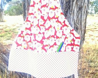 Santa apron/boy/pockets/toddler/handmade
