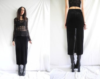 90's goth/rocker/witchy black stretch velvet straight high waisted maxi skirt with long back split.