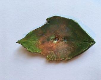 Handmade Ceramic Leaf Button