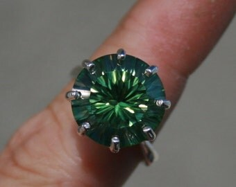 Huge Green Mystic Topaz Ring CVD Treated and Quantum Specialty Cut Sterling Silver Size 7 Bold Round Cocktail Ring November Birthstone