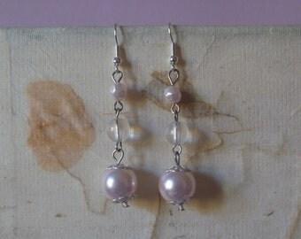 long pink beaded dangle earrings, ecofriendly dangle earrings